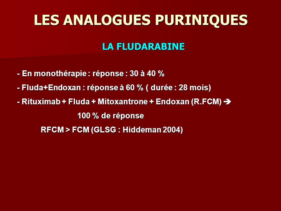 LES ANALOGUES PURINIQUES LA FLUDARABINE - En monothérapie : réponse : 30 à 40 % - Fluda+Endoxan : réponse à 60 % ( durée : 28 mois) - Rituximab + Fluda + Mitoxantrone + Endoxan (R.FCM) - Rituximab + Fluda + Mitoxantrone + Endoxan (R.FCM) 100 % de réponse 100 % de réponse RFCM > FCM (GLSG : Hiddeman 2004) RFCM > FCM (GLSG : Hiddeman 2004)