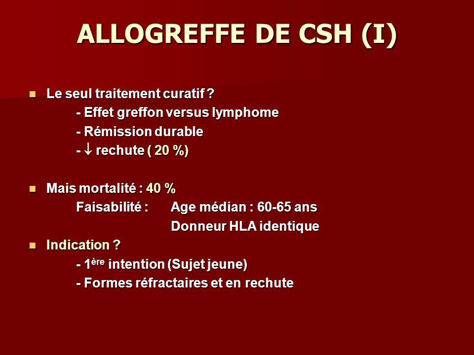 ALLOGREFFE DE CSH (I) Le seul traitement curatif .