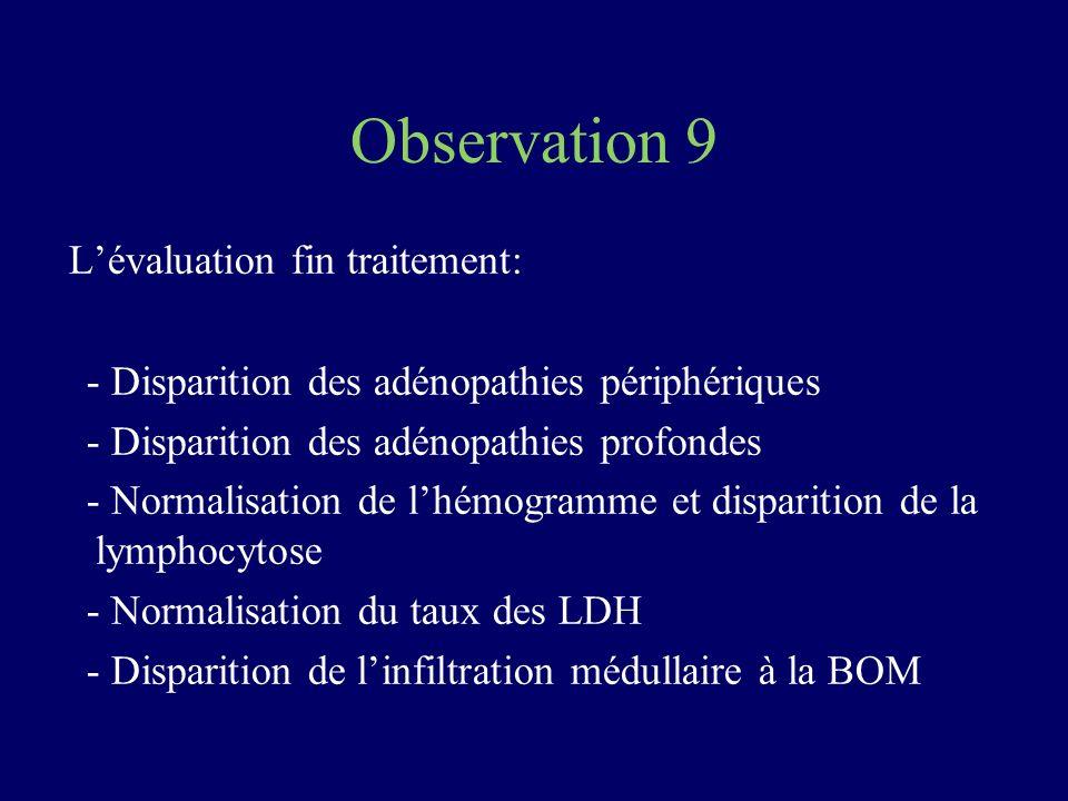 Observation 9 Lévaluation fin traitement: - Disparition des adénopathies périphériques - Disparition des adénopathies profondes - Normalisation de lhé