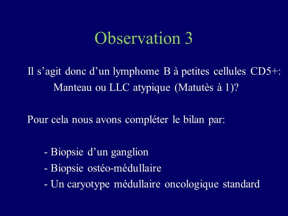 Observation 3 Il sagit donc dun lymphome B à petites cellules CD5+: Manteau ou LLC atypique (Matutès à 1)? Pour cela nous avons compléter le bilan par