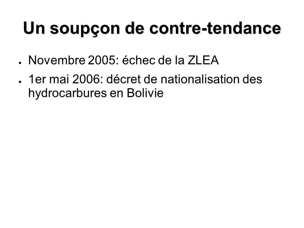 Un soupçon de contre-tendance Novembre 2005: échec de la ZLEA 1er mai 2006: décret de nationalisation des hydrocarbures en Bolivie