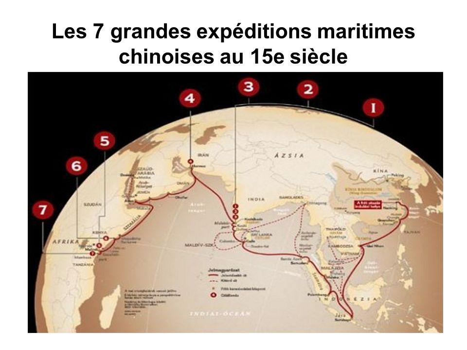 - La première expédition ( 1405 - 1407 ) compta 62 vaisseaux et 27 800 officiers et hommes d équipage- Elle dut intervenir dans une affaire de succession au trône au célèbre royaume javanais de Majapahit, ainsi qu à Palembang à Sumatra pour régler un conflit entre le pouvoir autochtone et la colonie chinoise locale.