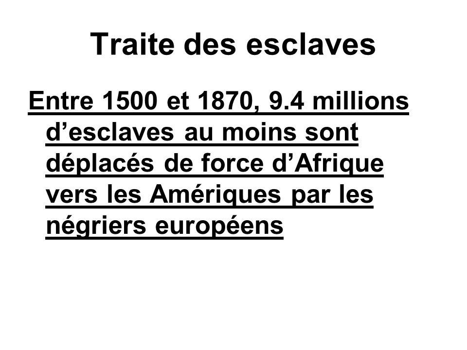 Cargaisons desclaves à travers lAtlantique entre 1701–1800 Angleterre 2.532.000 Portugal 1.796.000 France 1.180.000 Pays–Bas 351.000 Amérique du Nord 194.000 Danemark 74.000 Autres pays 5.000 Total : 6.132.000 (Six millions cent trente deux mille) Source : Lovejoy (1982), p.