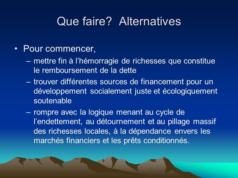 Que faire? Alternatives Pour commencer, –mettre fin à lhémorragie de richesses que constitue le remboursement de la dette –trouver différentes sources