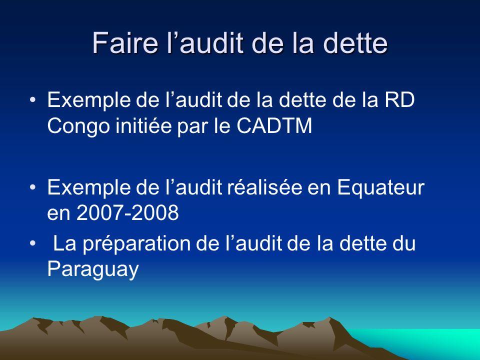 Faire laudit de la dette Exemple de laudit de la dette de la RD Congo initiée par le CADTM Exemple de laudit réalisée en Equateur en 2007-2008 La préparation de laudit de la dette du Paraguay