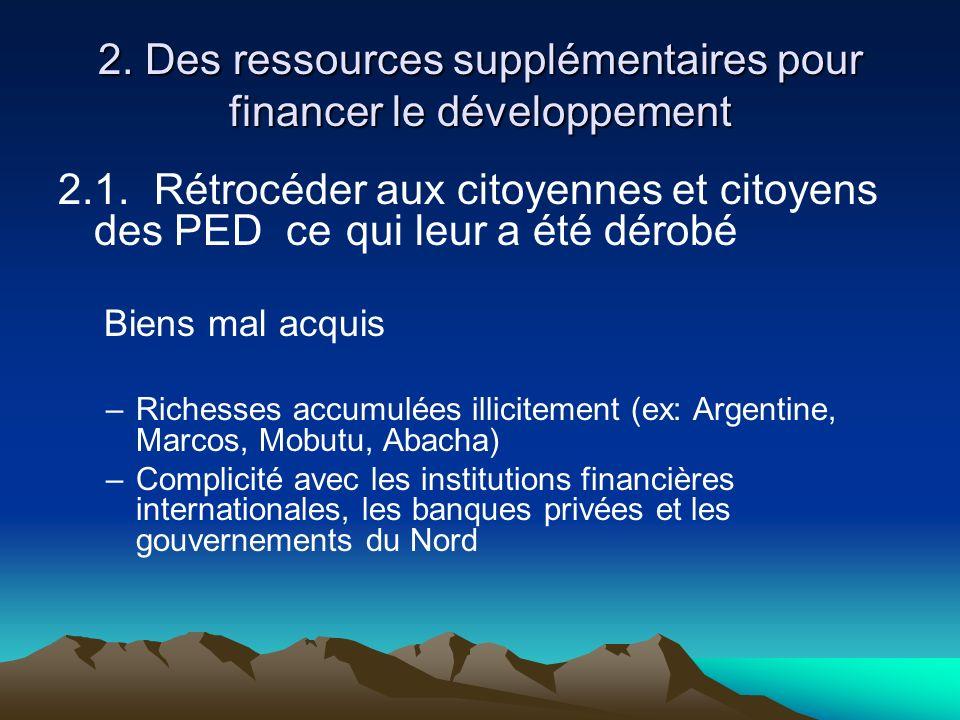 2. Des ressources supplémentaires pour financer le développement 2.1. Rétrocéder aux citoyennes et citoyens des PED ce qui leur a été dérobé Biens mal