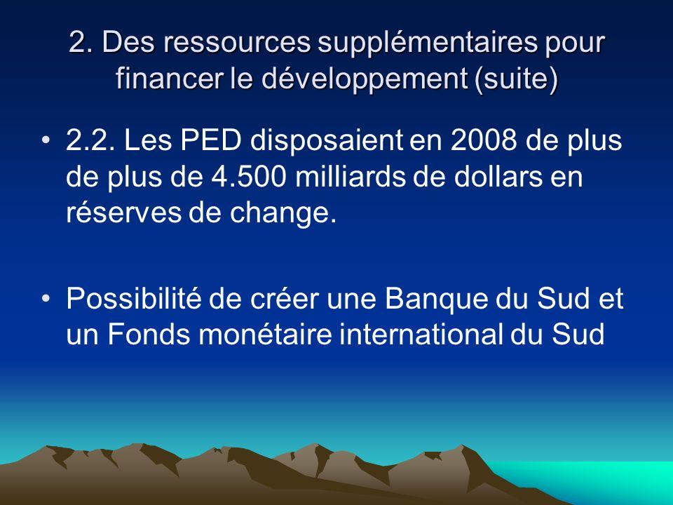 2. Des ressources supplémentaires pour financer le développement (suite) 2.2. Les PED disposaient en 2008 de plus de plus de 4.500 milliards de dollar