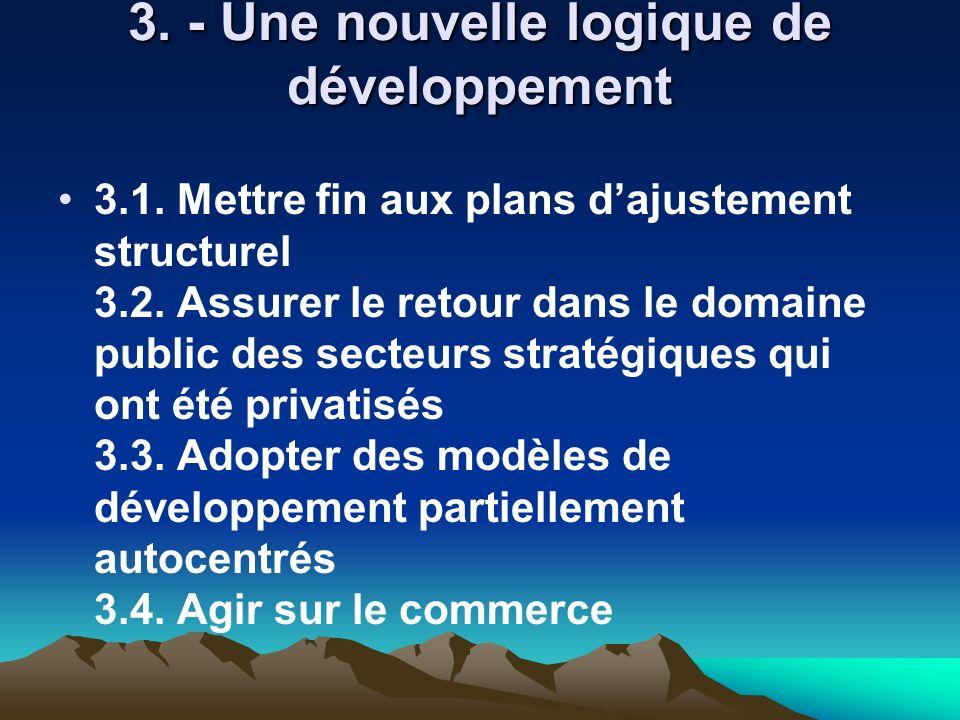 3. - Une nouvelle logique de développement 3.1. Mettre fin aux plans dajustement structurel 3.2. Assurer le retour dans le domaine public des secteurs