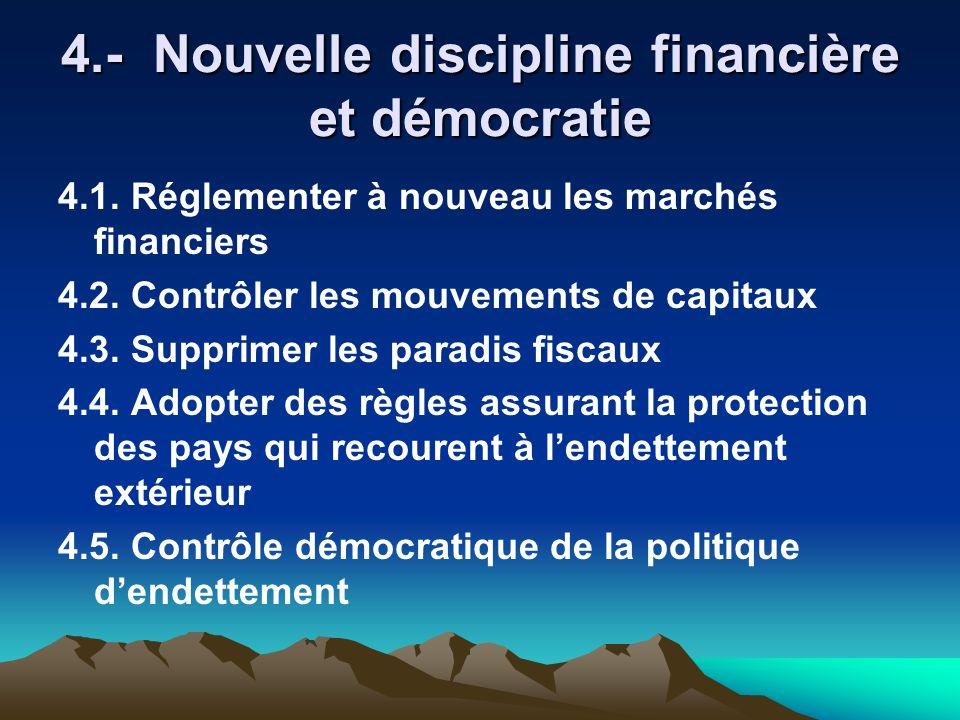 4.- Nouvelle discipline financière et démocratie 4.1. Réglementer à nouveau les marchés financiers 4.2. Contrôler les mouvements de capitaux 4.3. Supp