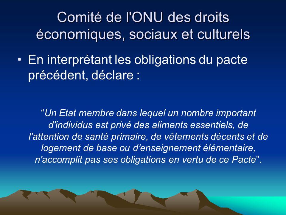 Comité de l'ONU des droits économiques, sociaux et culturels En interprétant les obligations du pacte précédent, déclare : Un Etat membre dans lequel