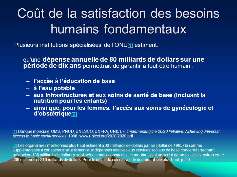 Coût de la satisfaction des besoins humains fondamentaux Plusieurs institutions spécialisées de lONU [1] estiment: [1] quune dépense annuelle de 80 mi