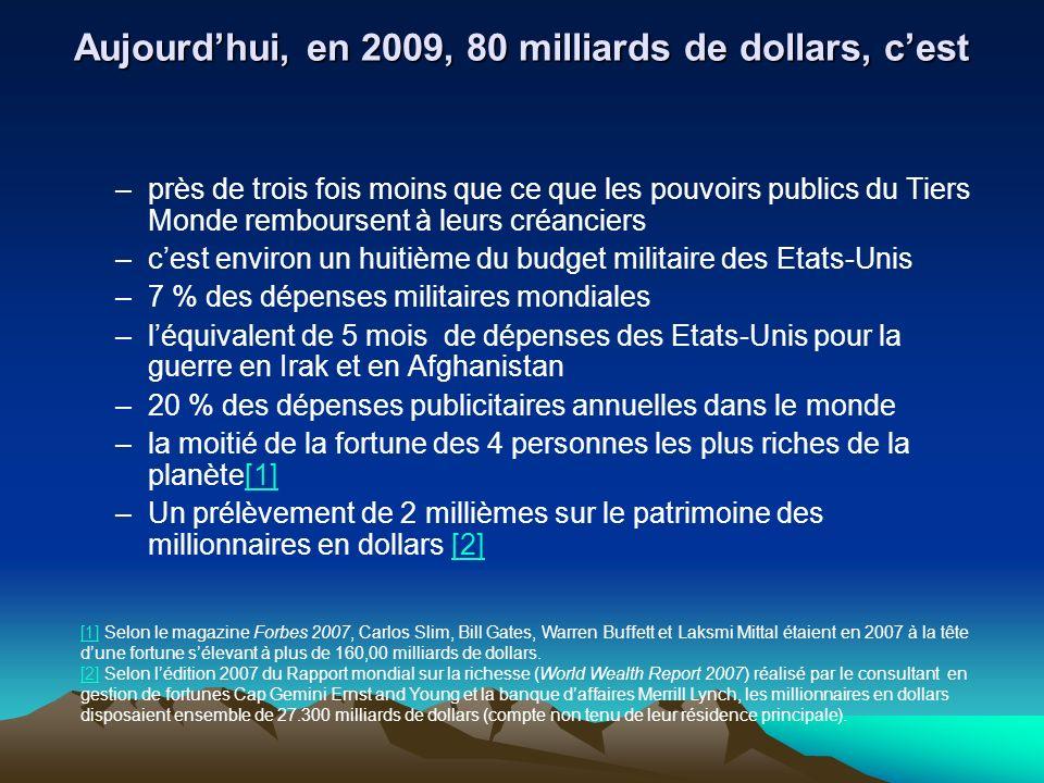 Aujourdhui, en 2009, 80 milliards de dollars, cest –près de trois fois moins que ce que les pouvoirs publics du Tiers Monde remboursent à leurs créanciers –cest environ un huitième du budget militaire des Etats-Unis –7 % des dépenses militaires mondiales –léquivalent de 5 mois de dépenses des Etats-Unis pour la guerre en Irak et en Afghanistan –20 % des dépenses publicitaires annuelles dans le monde –la moitié de la fortune des 4 personnes les plus riches de la planète[1][1] –Un prélèvement de 2 millièmes sur le patrimoine des millionnaires en dollars [2][2] [1][1] Selon le magazine Forbes 2007, Carlos Slim, Bill Gates, Warren Buffett et Laksmi Mittal étaient en 2007 à la tête dune fortune sélevant à plus de 160,00 milliards de dollars.