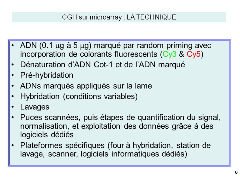 6 ADN (0.1 g à 5 g) marqué par random priming avec incorporation de colorants fluorescents (Cy3 & Cy5) Dénaturation dADN Cot-1 et de lADN marqué Pré-hybridation ADNs marqués appliqués sur la lame Hybridation (conditions variables) Lavages Puces scannées, puis étapes de quantification du signal, normalisation, et exploitation des données grâce à des logiciels dédiés Plateformes spécifiques (four à hybridation, station de lavage, scanner, logiciels informatiques dédiés) CGH sur microarray : LA TECHNIQUE