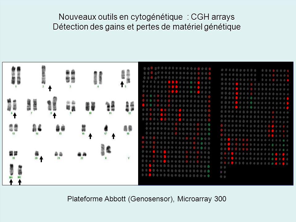 7 Nouveaux outils en cytogénétique : CGH arrays Détection des gains et pertes de matériel génétique Plateforme Abbott (Genosensor), Microarray 300