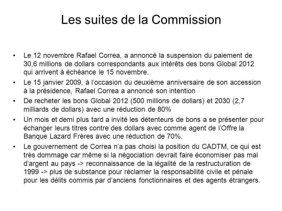 Les suites de la Commission Le 12 novembre Rafael Correa, a annoncé la suspension du paiement de 30,6 millions de dollars correspondants aux intérêts des bons Global 2012 qui arrivent à échéance le 15 novembre.