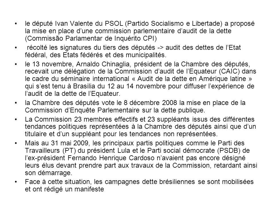 le député Ivan Valente du PSOL (Partido Socialismo e Libertade) a proposé la mise en place dune commission parlementaire daudit de la dette (Commissão Parlamentar de Inquérito CPI) récolté les signatures du tiers des députés -> audit des dettes de lEtat fédéral, des Etats fédérés et des municipalités.