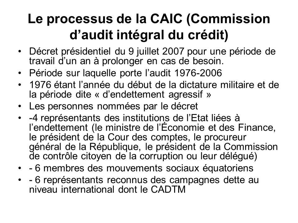 Le processus de la CAIC (Commission daudit intégral du crédit) Décret présidentiel du 9 juillet 2007 pour une période de travail dun an à prolonger en cas de besoin.