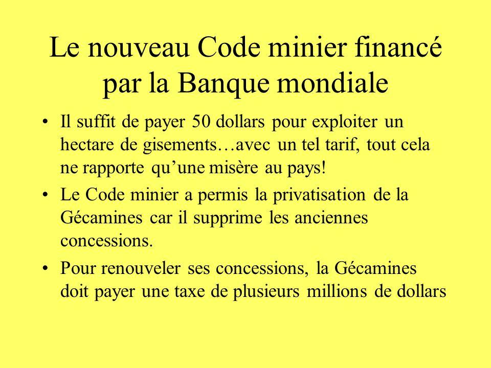 Le nouveau Code minier financé par la Banque mondiale Il suffit de payer 50 dollars pour exploiter un hectare de gisements…avec un tel tarif, tout cel