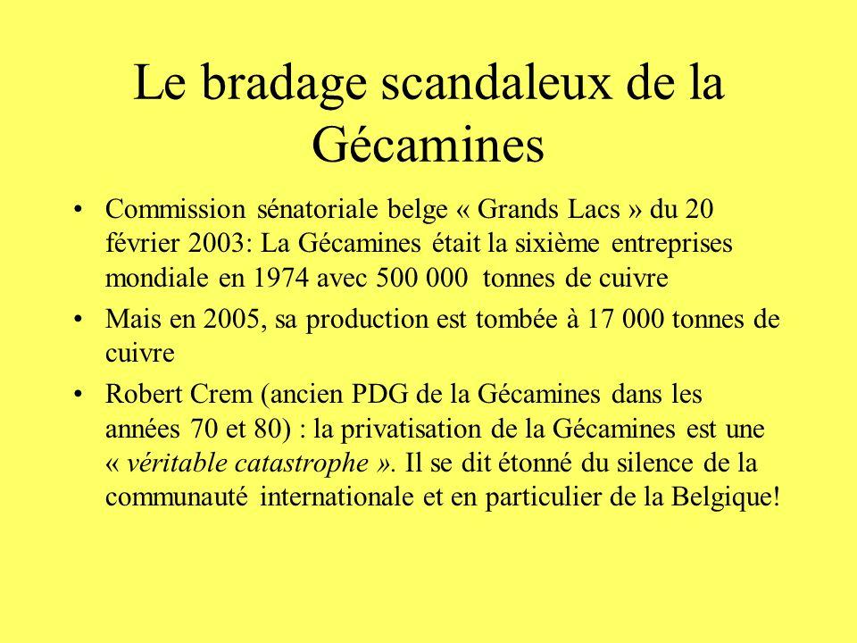 Le bradage scandaleux de la Gécamines Commission sénatoriale belge « Grands Lacs » du 20 février 2003: La Gécamines était la sixième entreprises mondi