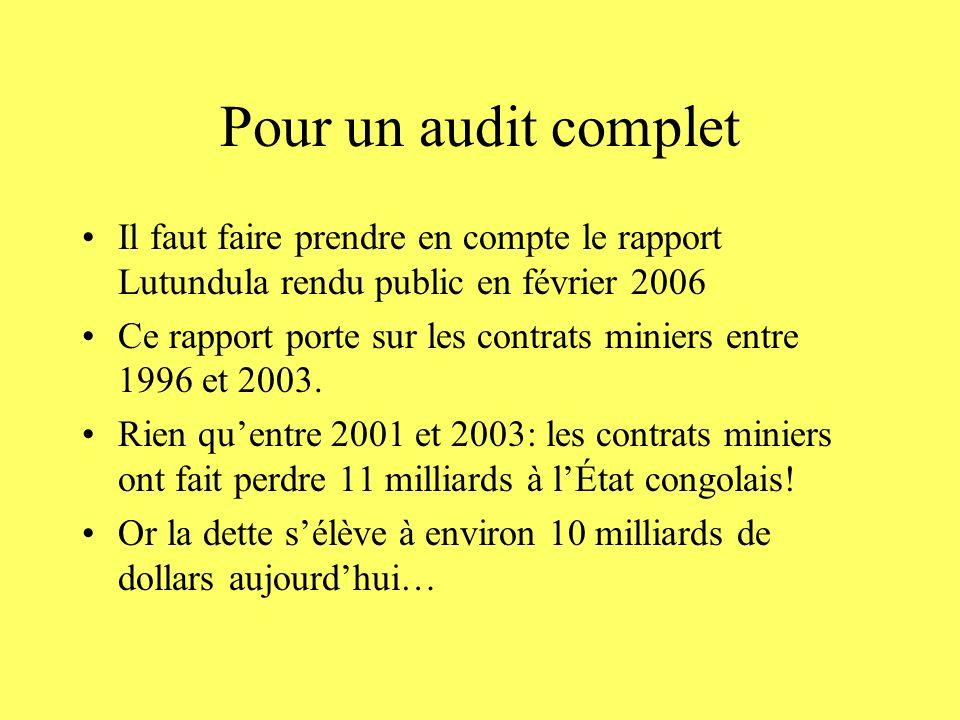 Pour un audit complet Il faut faire prendre en compte le rapport Lutundula rendu public en février 2006 Ce rapport porte sur les contrats miniers entr