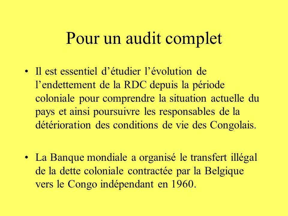 Pour un audit complet Il est essentiel détudier lévolution de lendettement de la RDC depuis la période coloniale pour comprendre la situation actuelle