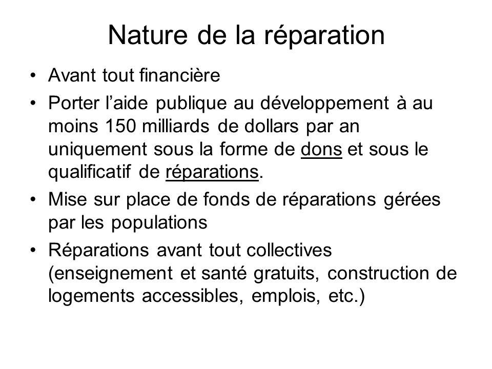 Nature de la réparation Avant tout financière Porter laide publique au développement à au moins 150 milliards de dollars par an uniquement sous la forme de dons et sous le qualificatif de réparations.