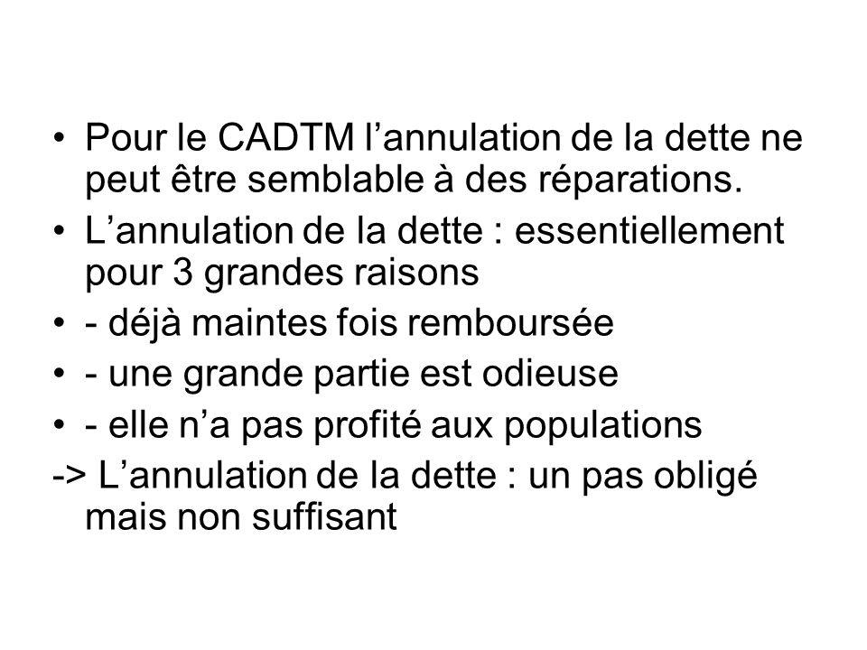 Pour le CADTM lannulation de la dette ne peut être semblable à des réparations.