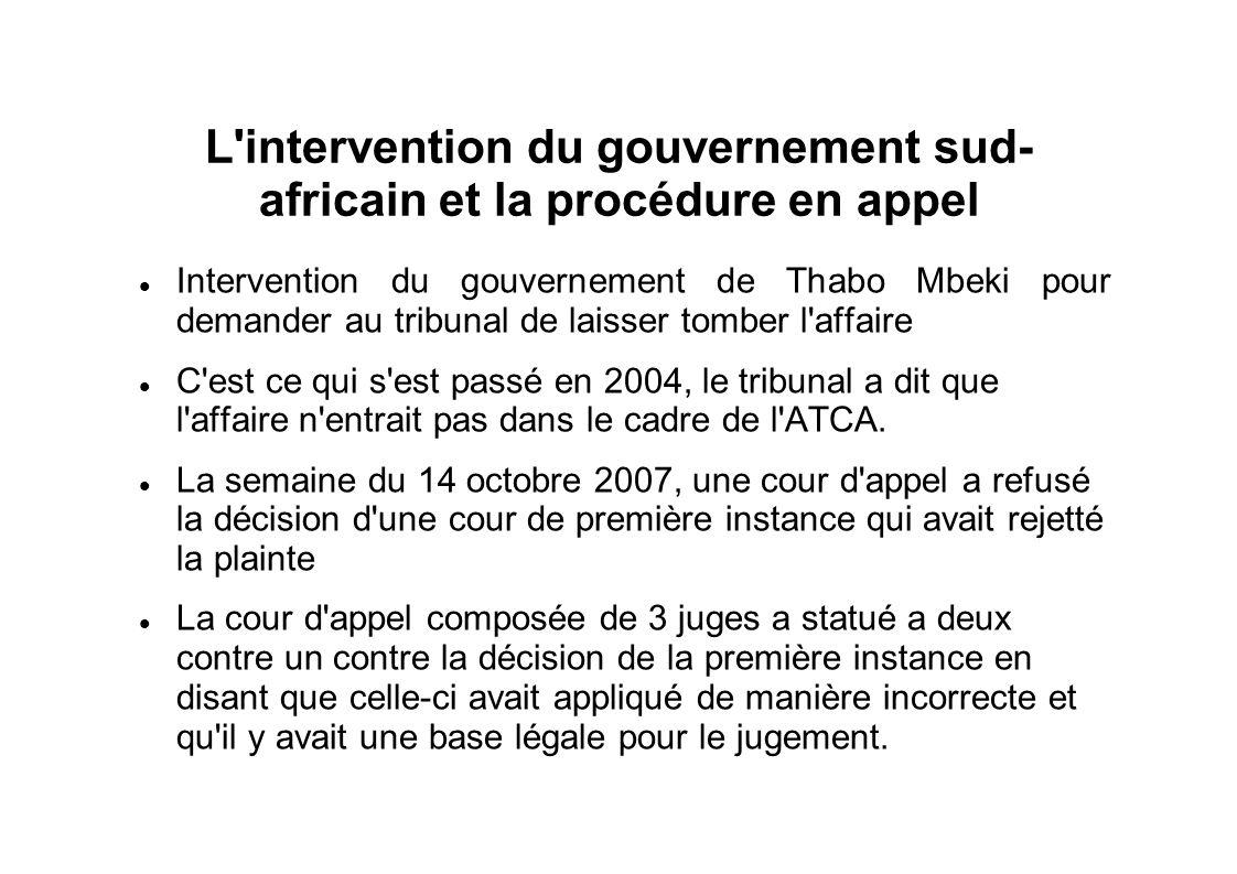 L'intervention du gouvernement sud- africain et la procédure en appel Intervention du gouvernement de Thabo Mbeki pour demander au tribunal de laisser