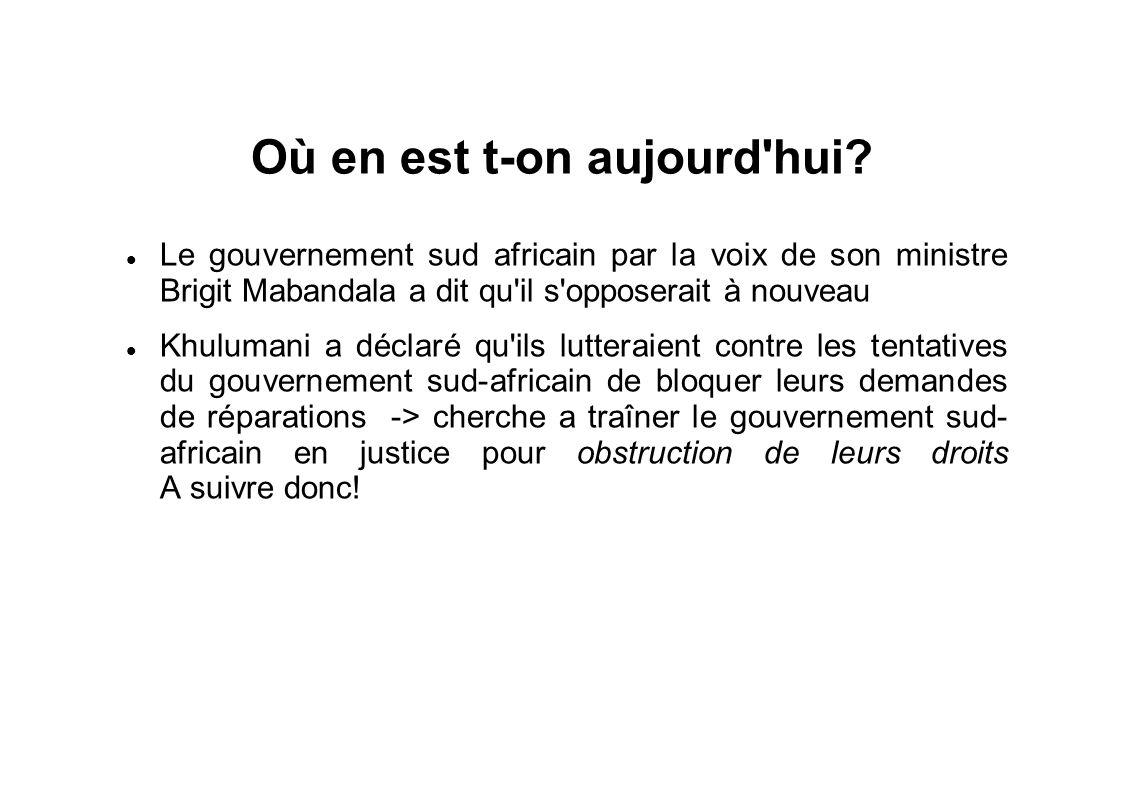 Où en est t-on aujourd'hui? Le gouvernement sud africain par la voix de son ministre Brigit Mabandala a dit qu'il s'opposerait à nouveau Khulumani a d