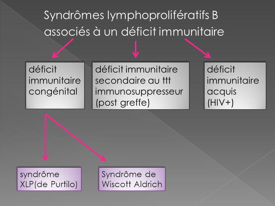 Syndrômes lymphoprolifératifs B associés à un déficit immunitaire déficit immunitaire congénital déficit immunitaire secondaire au ttt immunosuppresse