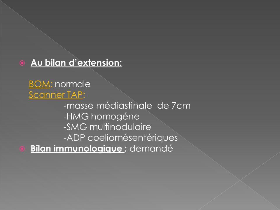 Au bilan dextension: BOM: normale Scanner TAP: -masse médiastinale de 7cm -HMG homogéne -SMG multinodulaire -ADP coeliomésentériques Bilan immunologiq