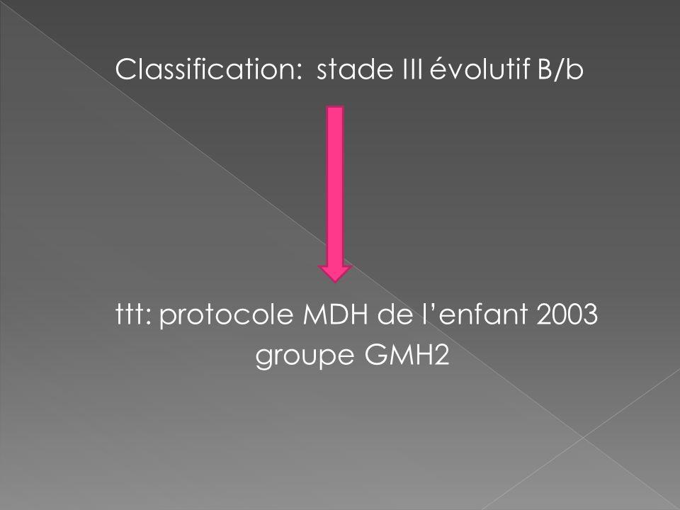 Classification: stade III évolutif B/b ttt: protocole MDH de lenfant 2003 groupe GMH2