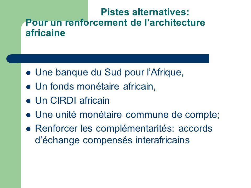 Pistes alternatives: Pour un renforcement de larchitecture africaine Une banque du Sud pour lAfrique, Un fonds monétaire africain, Un CIRDI africain Une unité monétaire commune de compte; Renforcer les complémentarités: accords déchange compensés interafricains
