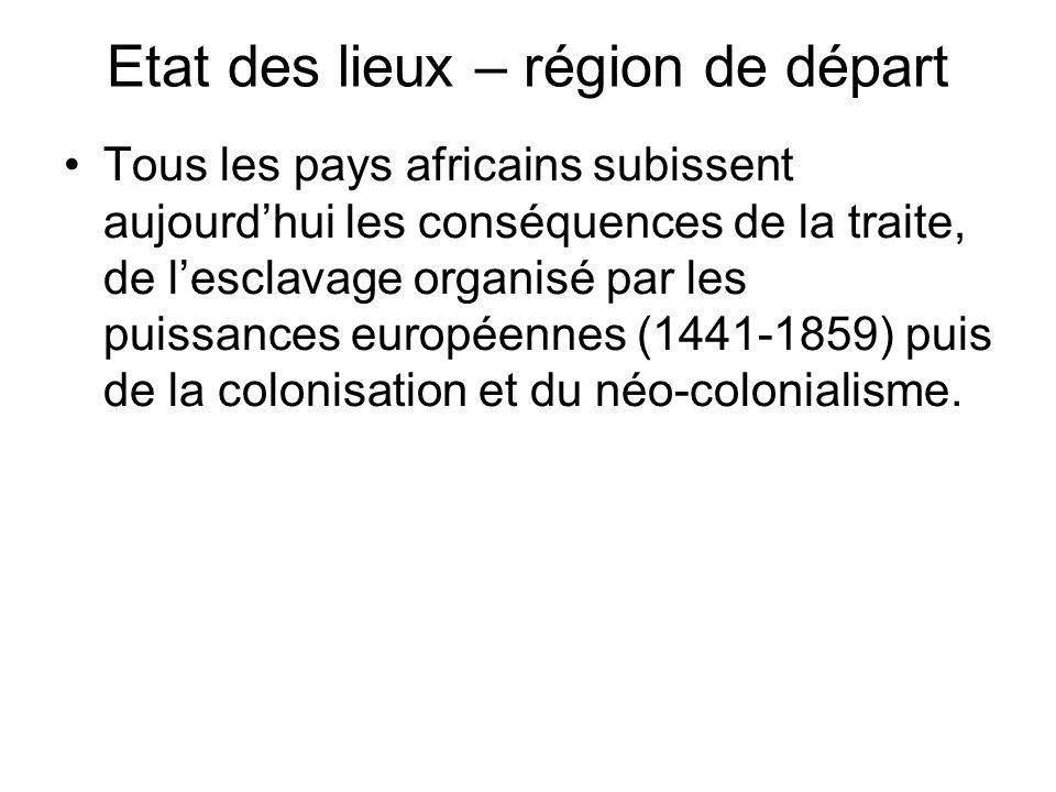 Etat des lieux – région de départ Tous les pays africains subissent aujourdhui les conséquences de la traite, de lesclavage organisé par les puissances européennes (1441-1859) puis de la colonisation et du néo-colonialisme.