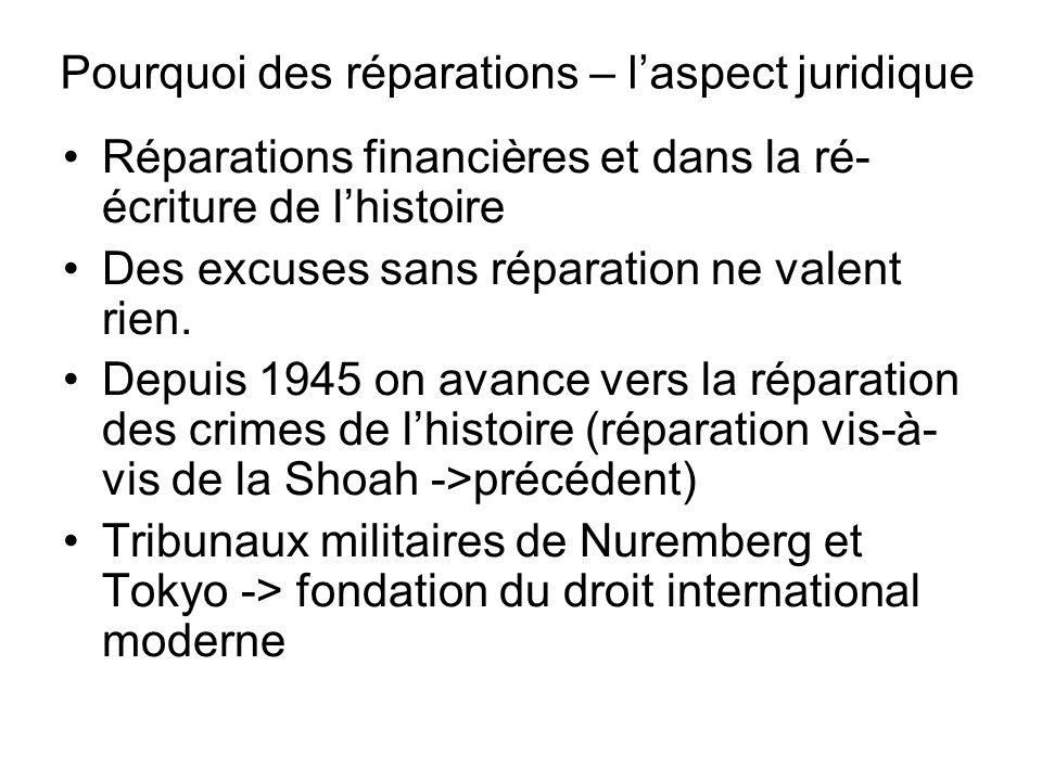 Pourquoi des réparations – laspect juridique Réparations financières et dans la ré- écriture de lhistoire Des excuses sans réparation ne valent rien.