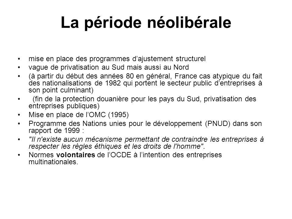 La période néolibérale mise en place des programmes dajustement structurel vague de privatisation au Sud mais aussi au Nord (à partir du début des années 80 en général, France cas atypique du fait des nationalisations de 1982 qui portent le secteur public dentreprises à son point culminant) (fin de la protection douanière pour les pays du Sud, privatisation des entreprises publiques) Mise en place de lOMC (1995) Programme des Nations unies pour le développement (PNUD) dans son rapport de 1999 : Il n existe aucun mécanisme permettant de contraindre les entreprises à respecter les règles éthiques et les droits de l homme .