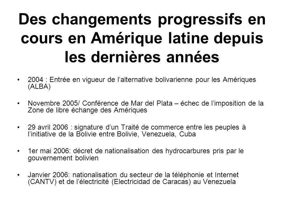 Des changements progressifs en cours en Amérique latine depuis les dernières années 2004 : Entrée en vigueur de lalternative bolivarienne pour les Amé