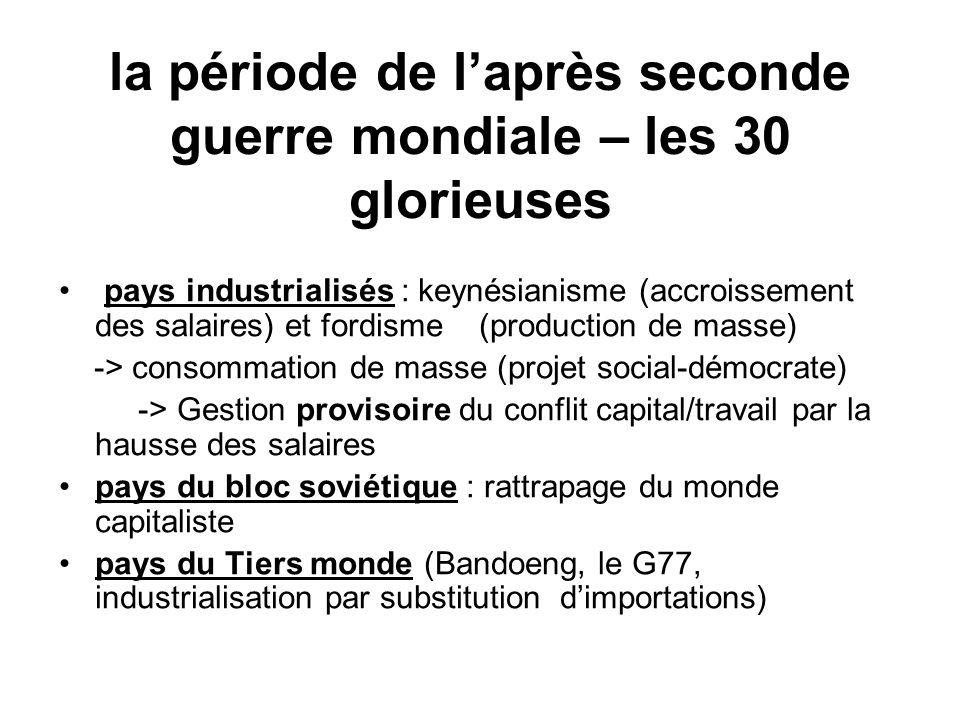 la période de laprès seconde guerre mondiale – les 30 glorieuses pays industrialisés : keynésianisme (accroissement des salaires) et fordisme (product
