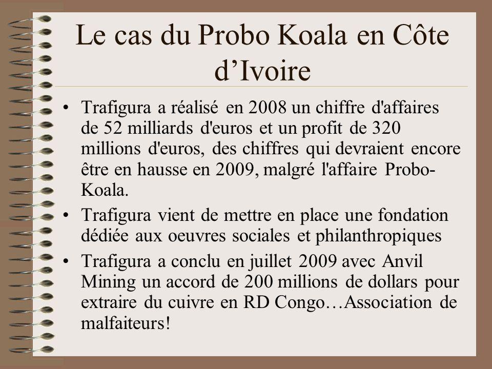 Le cas du Probo Koala en Côte dIvoire Trafigura a réalisé en 2008 un chiffre d'affaires de 52 milliards d'euros et un profit de 320 millions d'euros,