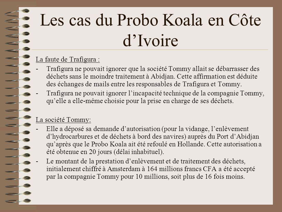 Les cas du Probo Koala en Côte dIvoire Procédure judiciaire en Côte dIvoire : en octobre 2008, la Cour dassises dAbidjan confirme la toxicité des déchets et condamne à 20 et 5 ans de prison (pour complicité dempoisonnement) le directeur de Tommy et 1 employé de la société Waibs qui avait donné à Trafigura les coordonnées de Tommy.