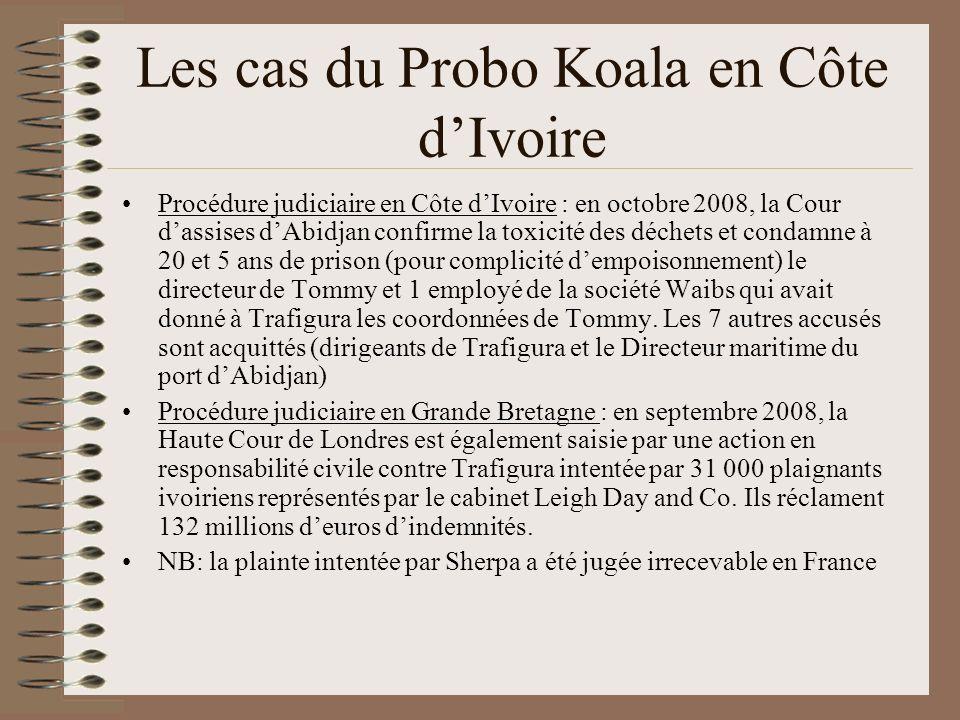 Les cas du Probo Koala en Côte dIvoire Procédure judiciaire en Côte dIvoire : en octobre 2008, la Cour dassises dAbidjan confirme la toxicité des déch