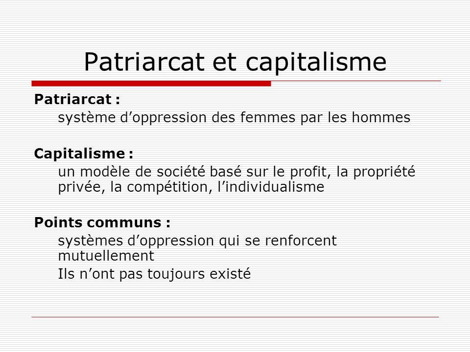 Patriarcat : système doppression des femmes par les hommes Capitalisme : un modèle de société basé sur le profit, la propriété privée, la compétition,