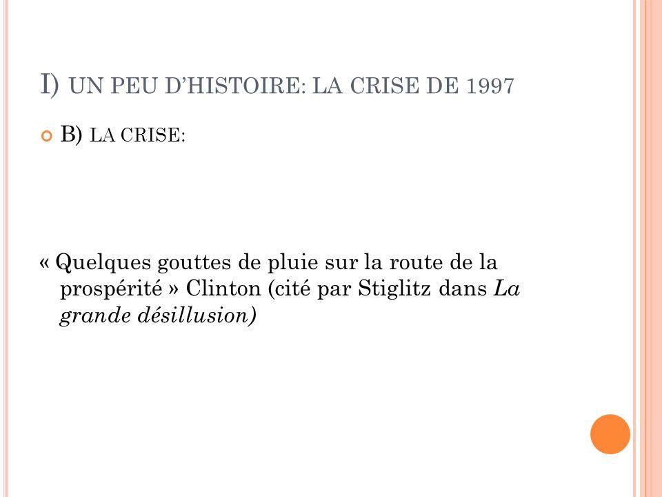 I) UN PEU DHISTOIRE: LA CRISE DE 1997 B) LA CRISE: « Quelques gouttes de pluie sur la route de la prospérité » Clinton (cité par Stiglitz dans La grande désillusion)