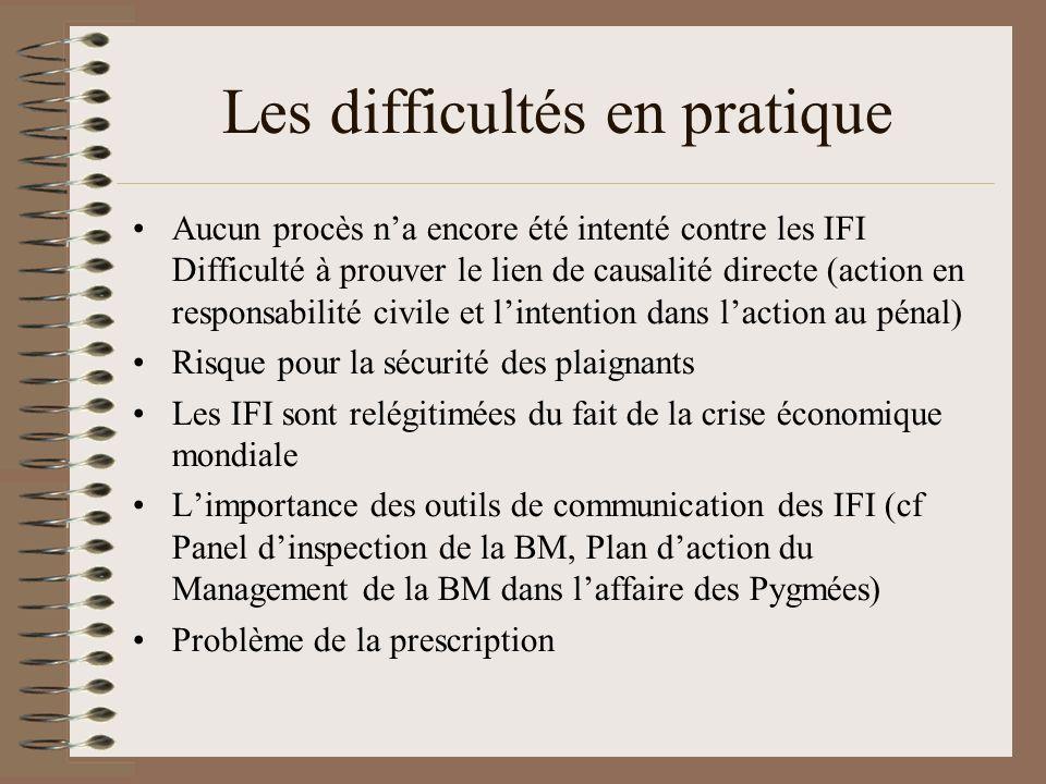 Les difficultés en pratique Aucun procès na encore été intenté contre les IFI Difficulté à prouver le lien de causalité directe (action en responsabil