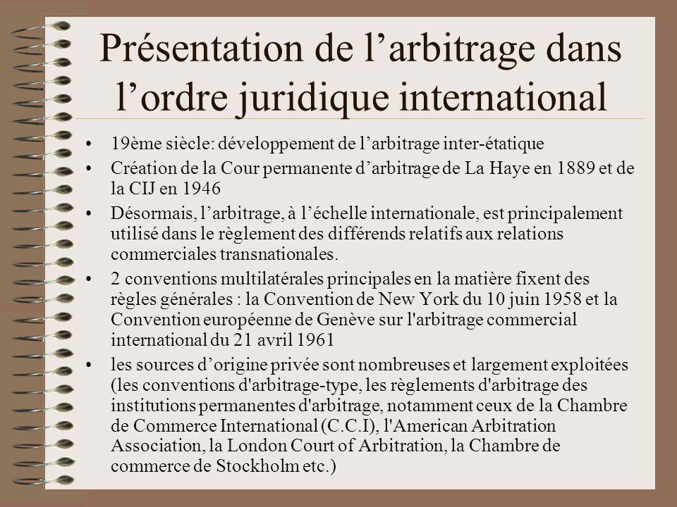 Présentation de larbitrage dans lordre juridique international 19ème siècle: développement de larbitrage inter-étatique Création de la Cour permanente