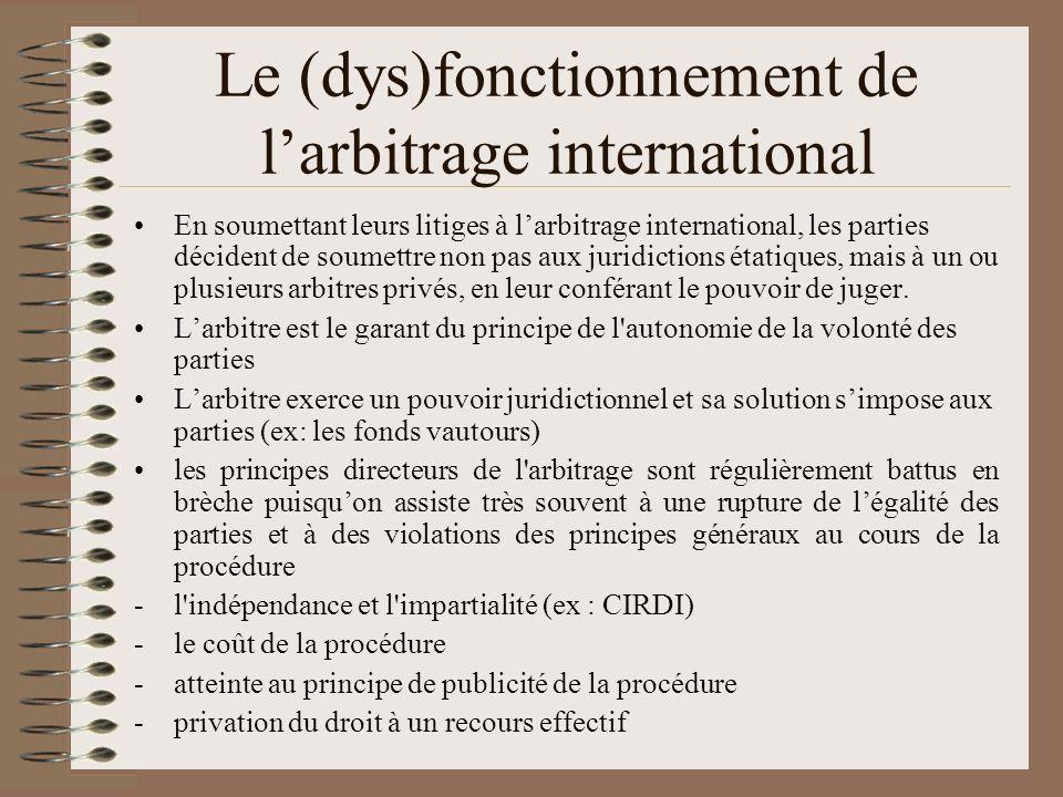 Le (dys)fonctionnement de larbitrage international En soumettant leurs litiges à larbitrage international, les parties décident de soumettre non pas a
