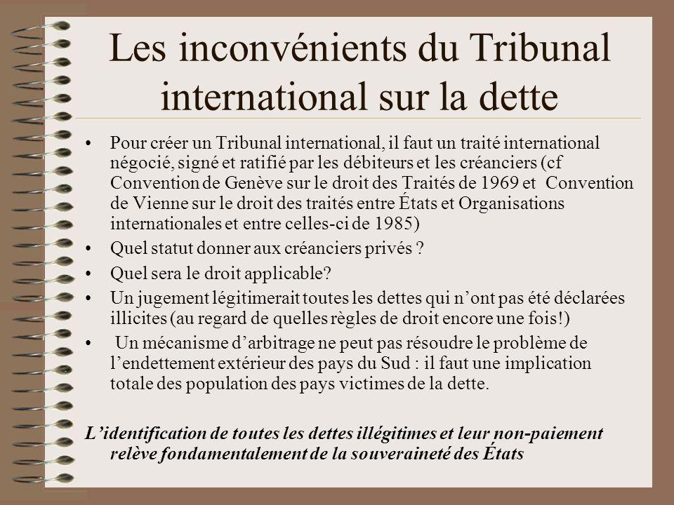 Les inconvénients du Tribunal international sur la dette Pour créer un Tribunal international, il faut un traité international négocié, signé et ratif