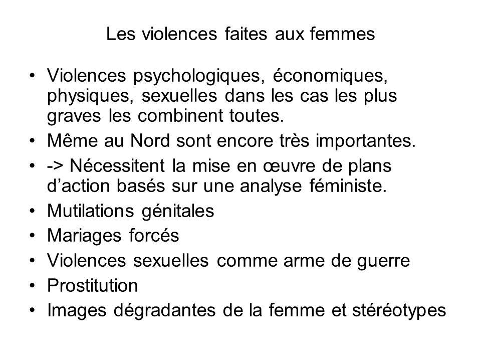 Les violences faites aux femmes Violences psychologiques, économiques, physiques, sexuelles dans les cas les plus graves les combinent toutes.
