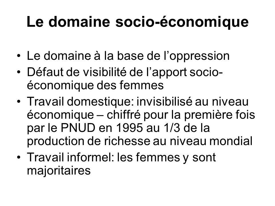 Le domaine socio-économique Le domaine à la base de loppression Défaut de visibilité de lapport socio- économique des femmes Travail domestique: invisibilisé au niveau économique – chiffré pour la première fois par le PNUD en 1995 au 1/3 de la production de richesse au niveau mondial Travail informel: les femmes y sont majoritaires