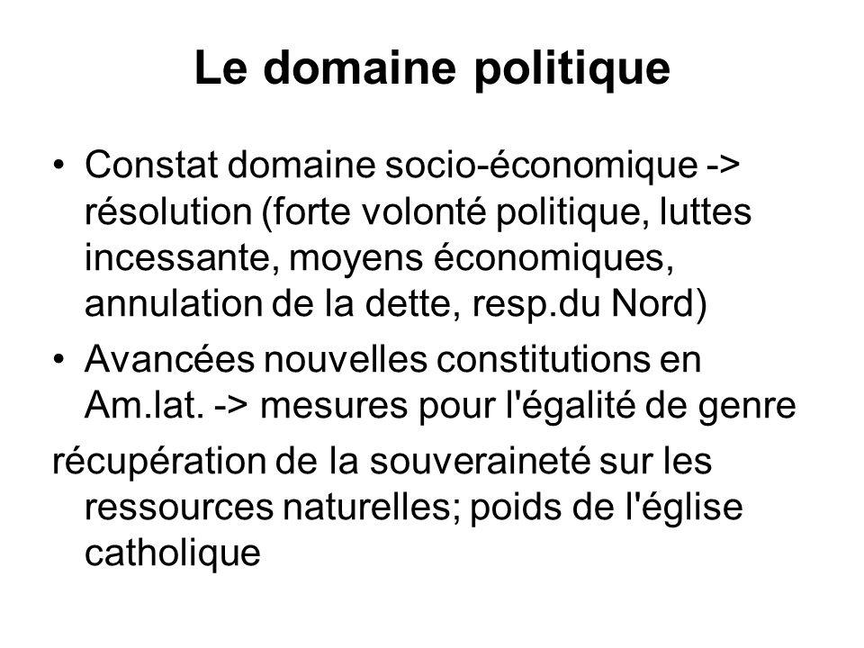 Le domaine politique Constat domaine socio-économique -> résolution (forte volonté politique, luttes incessante, moyens économiques, annulation de la dette, resp.du Nord) Avancées nouvelles constitutions en Am.lat.